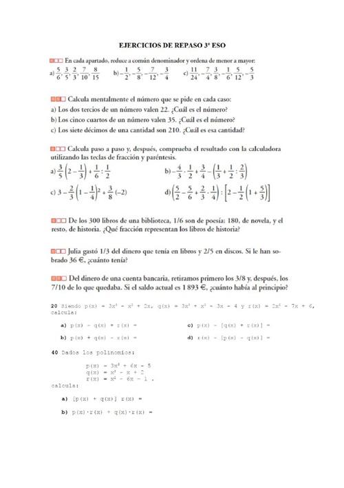 Repaso inicial Matemátcias A - 4º ESO