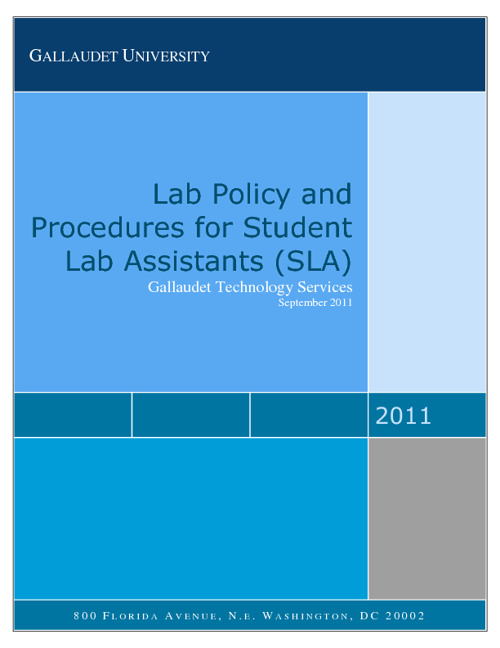 Lab Policy and Prodecure for Student Lab Assistants