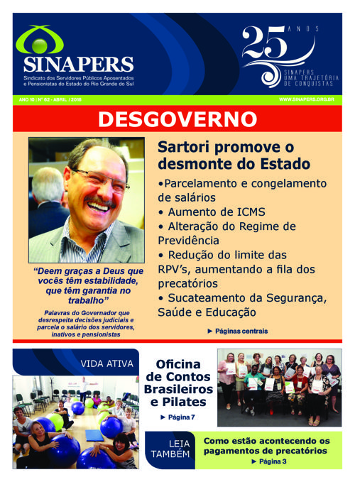 SINAPERS - Ano 10 | Nº62 Abril 2016