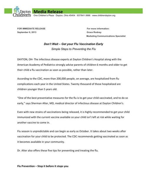 Dayton Children's Flu Vaccine Release Sep. 6, 2013