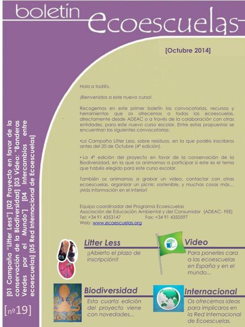 Boletín ECOESCUELA OCTUBRE 2014