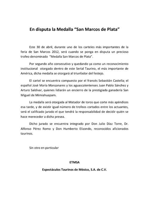 """EN DISPUTA LA MEDALLA """"SN MCOS DE PLATA"""""""