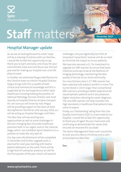 Spire Cheshire Hospital Staff newsletter