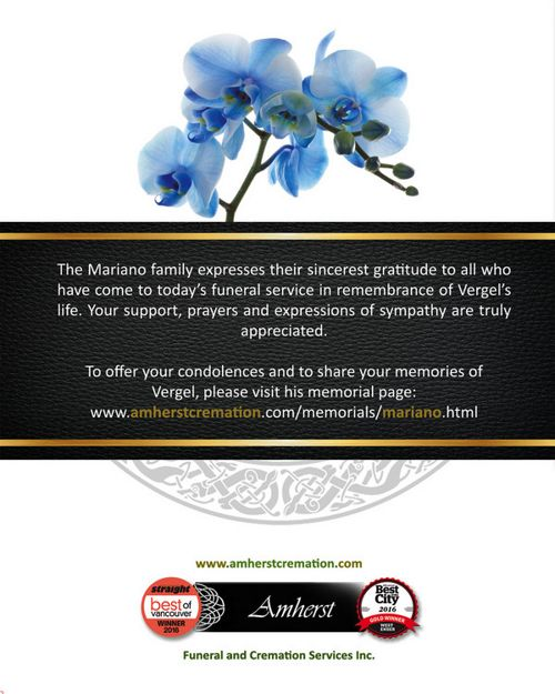 Memorial Card for Vergel Sanchez Mariano
