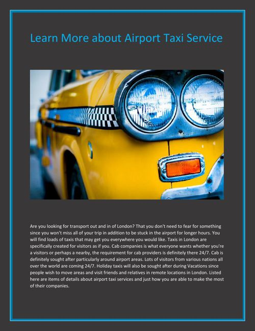 Learn More about Airport Taxi Service