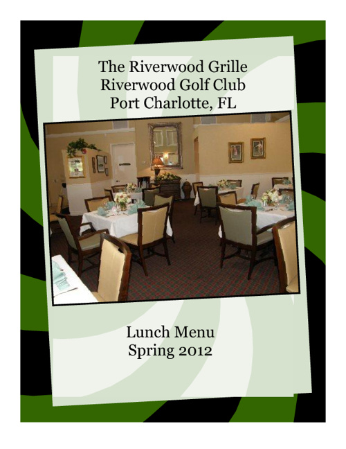 Riverwood Grille Lunch Menu Spring 2012 Menu