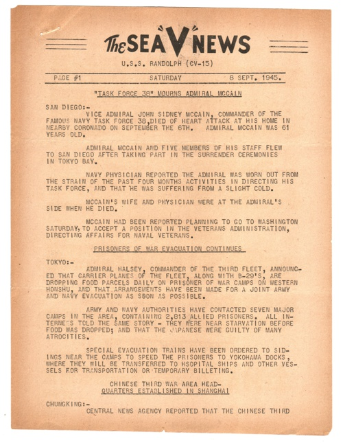 08 SEP 1945 SEA V NEWS