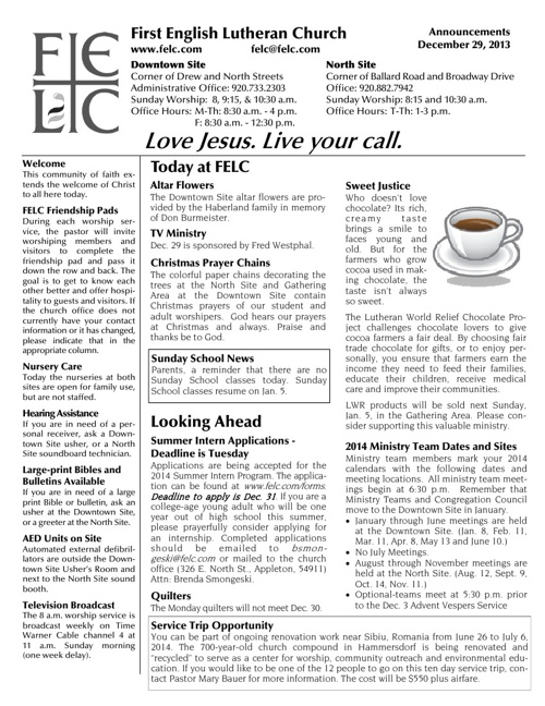 FELC Weekly Announcements for Dec. 29, 2013
