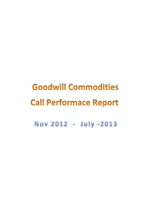 Goodwill Performance Report
