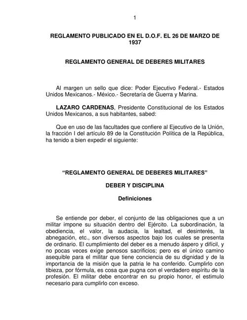 1 REGLAMENTO GENERAL DE DEBERES MILITARES