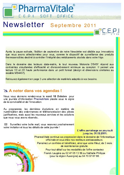 Newsletter PharmaVitale - Septembre 2011