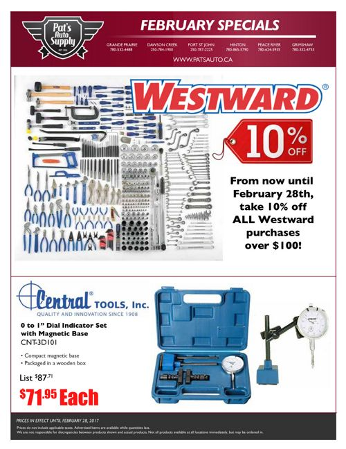 Pat's Auto Supply - February Flyer