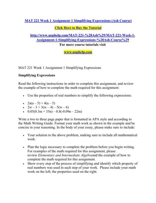 MAT 221 Week 1 Assignment 1 Simplifying Expressions (Ash Course