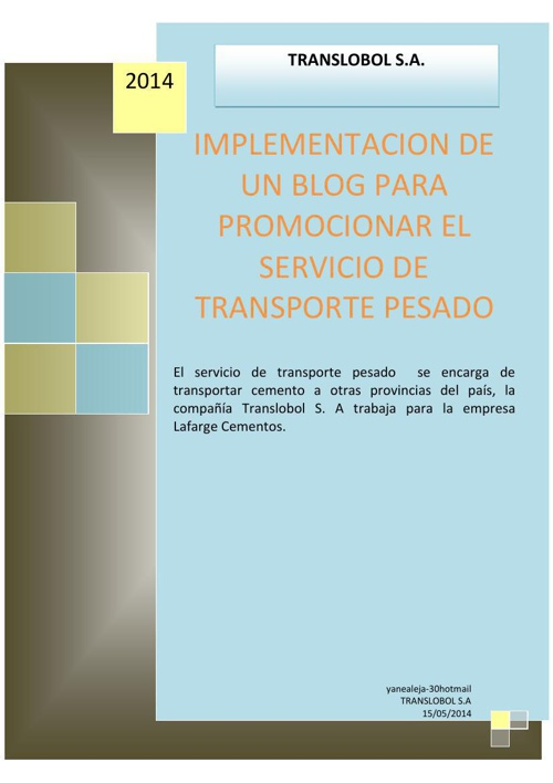 Implementación de un blog para promocionar el servicio de transp