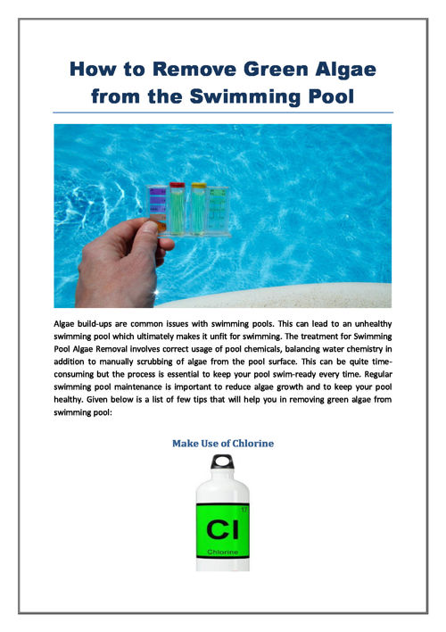 How to Remove Green Algae from the Swimming Pool