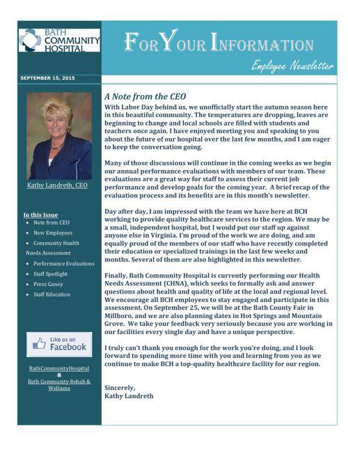 Bath Community Hospital - September Newsletter