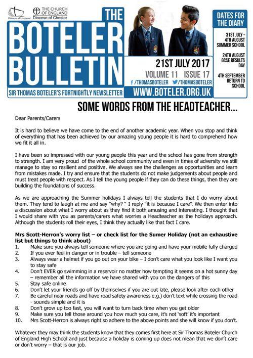 Boteler Bulletin 21st July 2017