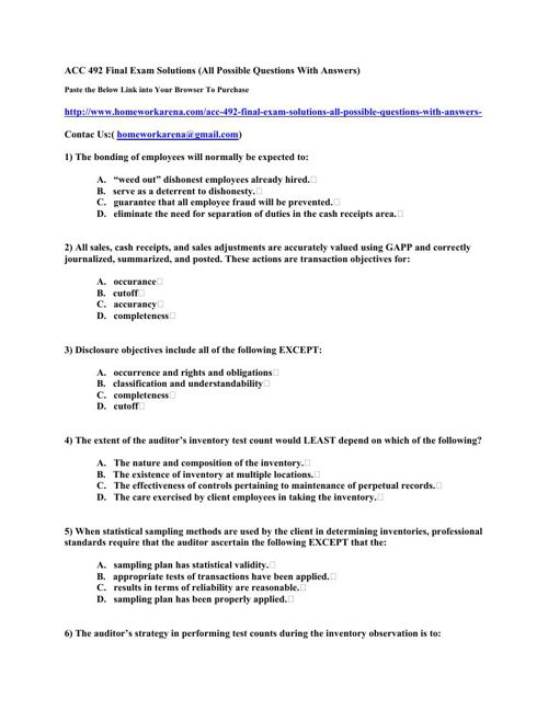 ACC 492 Final Exam Solutions (All Possible Questions With Answer