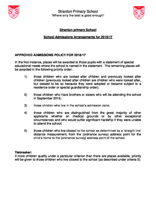 Stranton's Admsisions Policy 2015-16