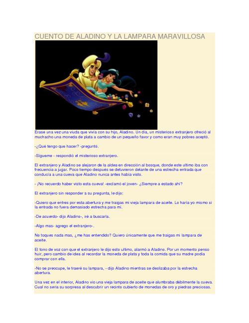 CUENTO DE ALADINO Y LA LAMPARA MARAVILLOSA