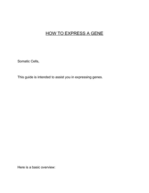 GENE EXPRESSION INSTRUCTION BOOKLET