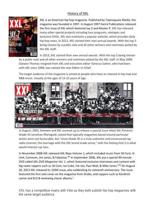 History of XXL