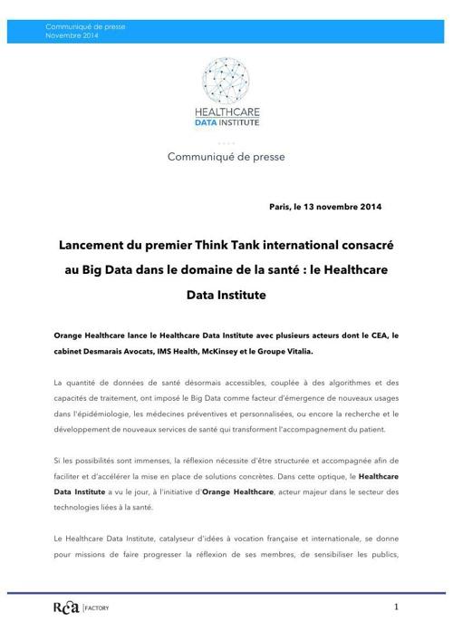 Communiqué de Presse - Lancement du premier Think Tank internati