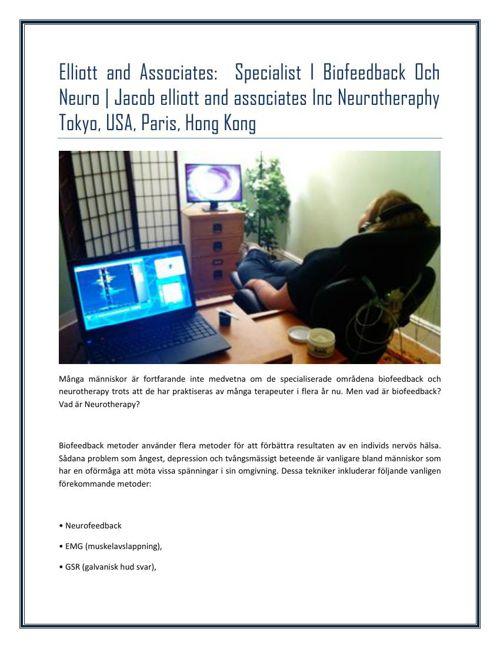 Elliott's and Associates-  Specialist I Biofeedback Och Neuro