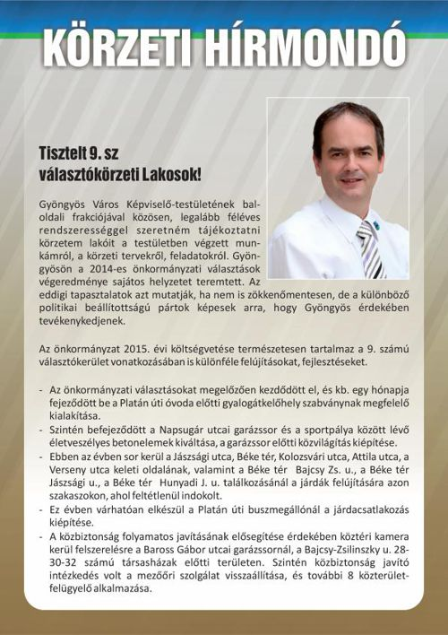 Körzeti Hírmondó, Dr. Végh Attila 2015/1