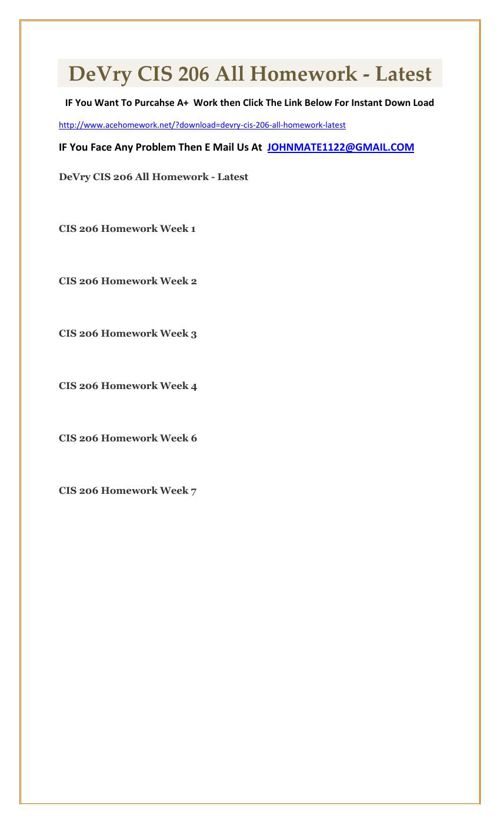 DeVry CIS 206 All Homework - Latest