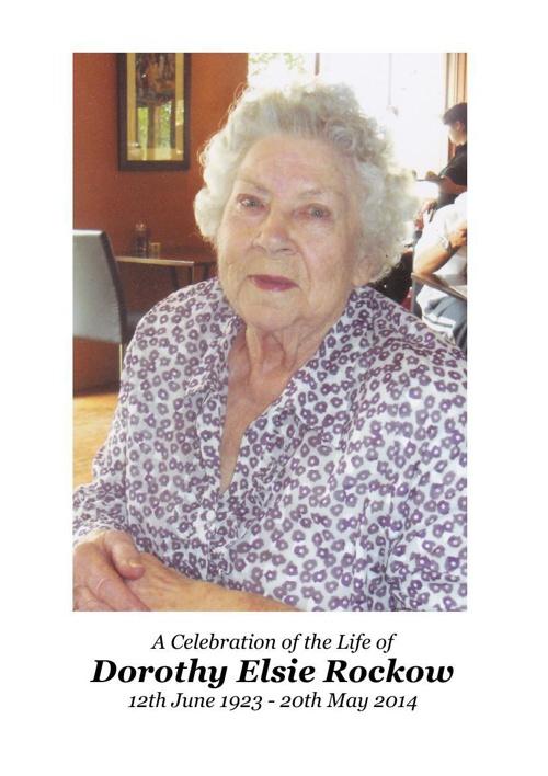 4 Order of Service for Dorothy Elsie Rockow