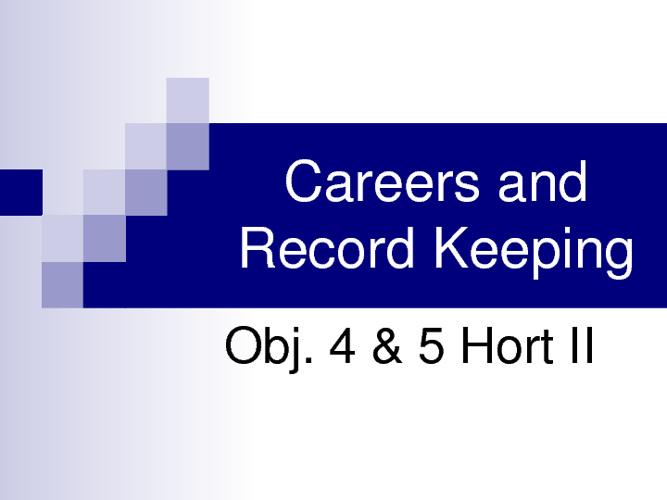 Obj. 4-5 Careers