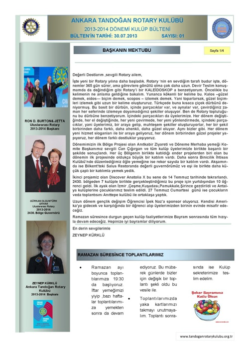 Tandogan Rotary 2013-2014 Bülten 01