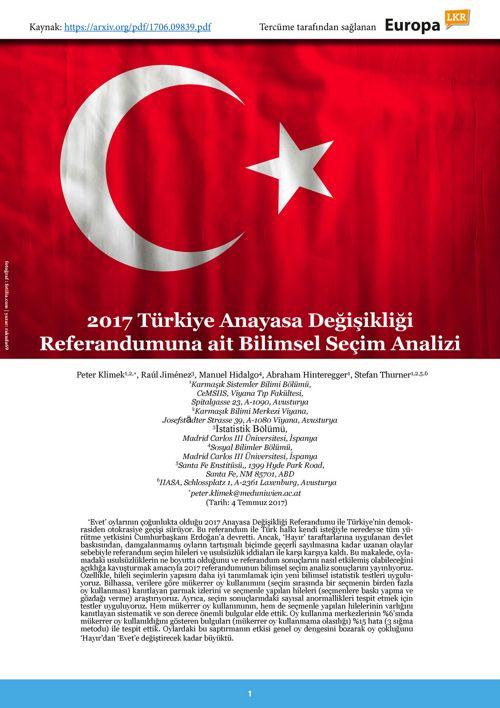 2017 Türkiye Anayasa Değişikliği Referandumuna ait Bilimsel Seçi