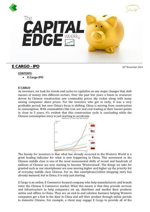 CAP EDGE WEEKLY- IPO E-CARGO