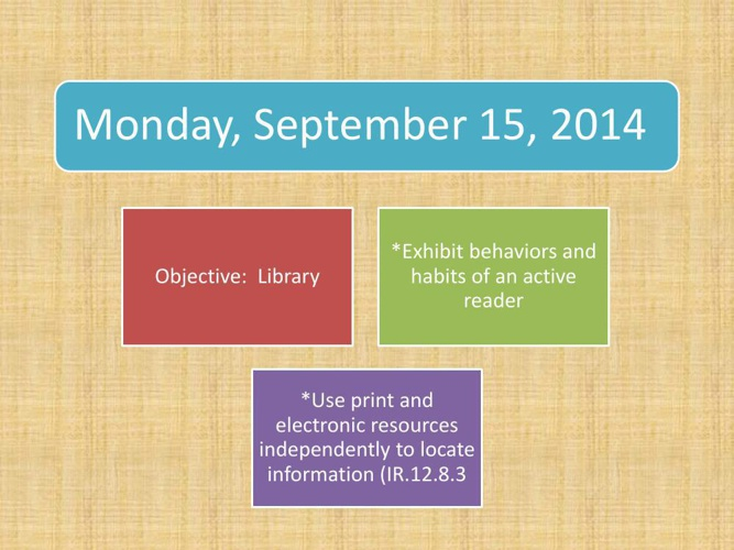 Week 5 Agenda Powerpoint Sept 15-19 2014