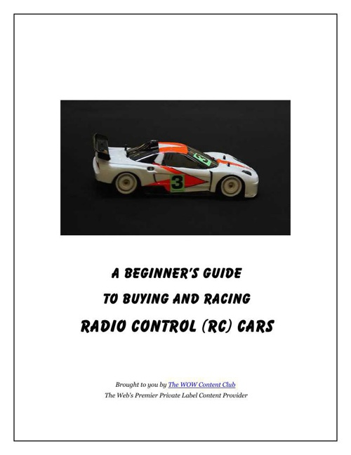 Beginners Guide To RC Cars