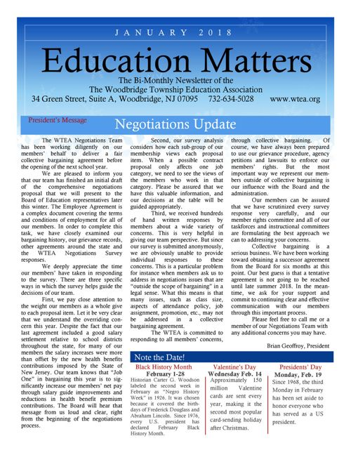 WTEA News Jan 2018