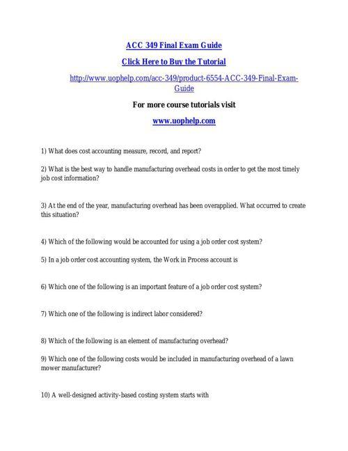 ACC 349 Final Exam Guide