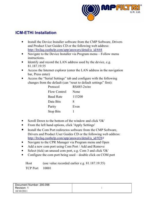 ICM-ETHi User Guide and Installation