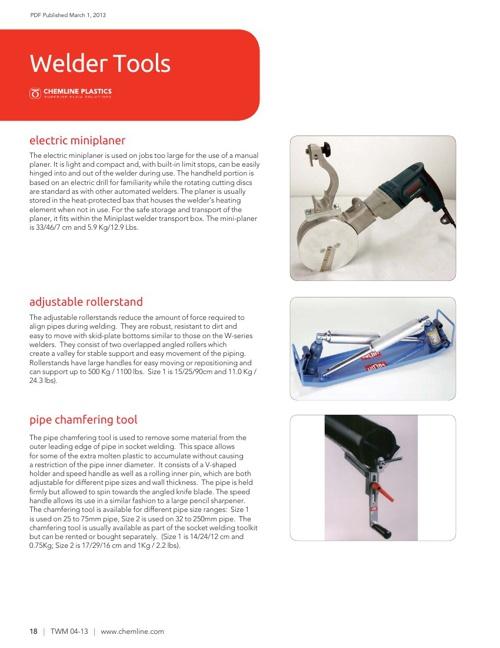 Chemline Plastics Pipe Welding Tools (2013)