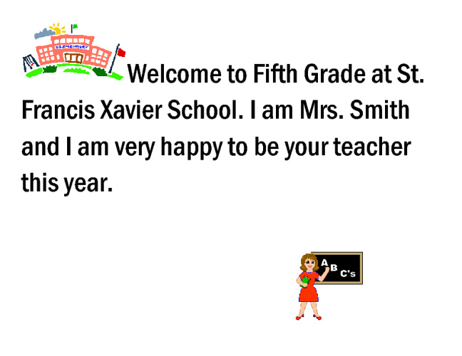 Welcome to Fith Grade 2011-2012