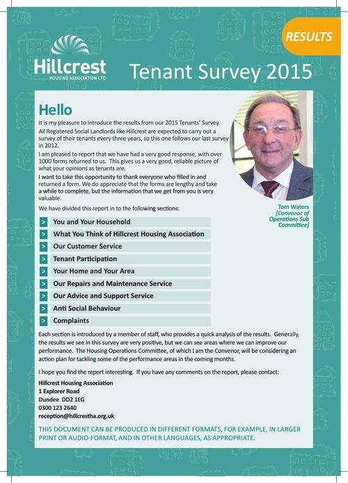 Hillcrest Tenants Survey 2015 Results Report