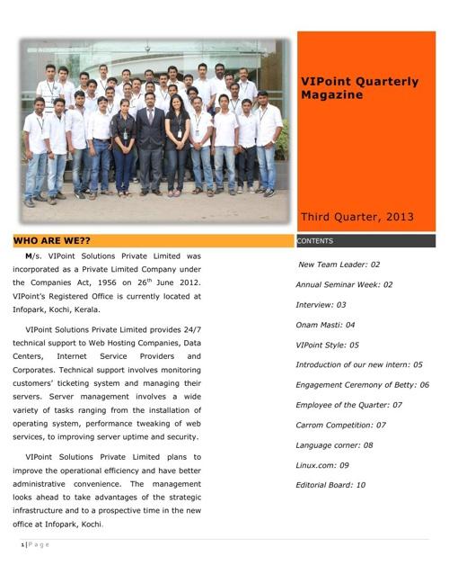 VIPoint Magazine Issue 1 Q3 2013