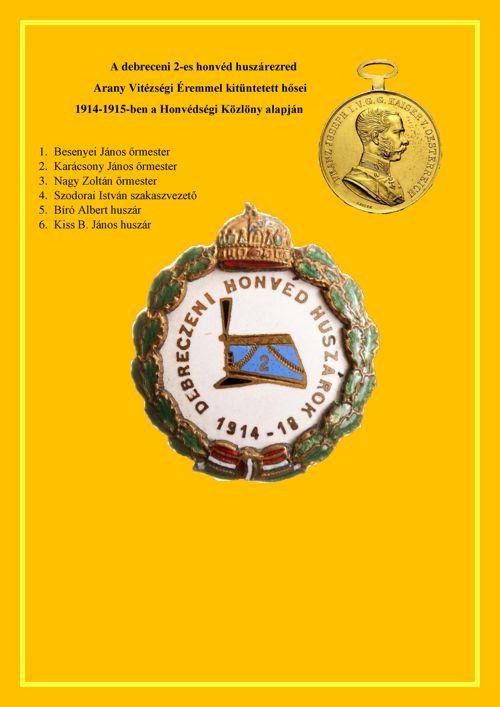 2-es honvéd huszárezred Arany Vitézségi Éremmel kitüntettjei