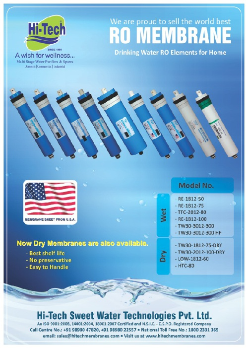 Hi-Tech RO Membrane Single Page Catalogue