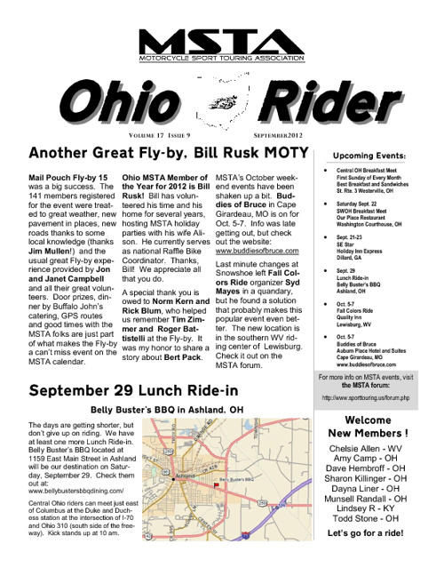 September 2012 Ohio MSTA Newsletter