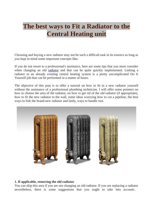 The best ways to Fit a Radiator to the Central Heating unit