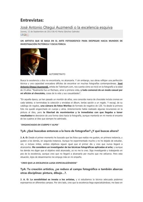 ENTREVISTA A JOSE ANTONIO OTEGUI EN TALENTYART