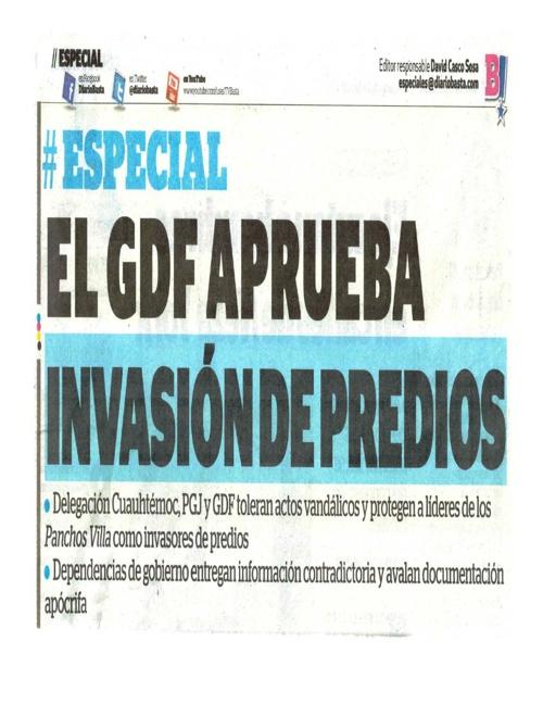 EL GOBIERNO DEL DF APRUEBA INVASIÓN A PREDIOS